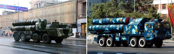 Российский ЗРК С-300 (слева) и китайский HQ-9 (справа)